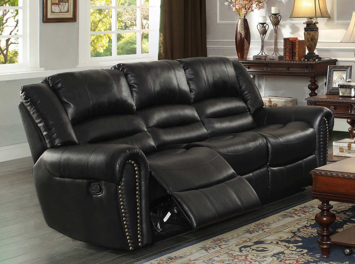 Center Hill Double Reclining Nailhead Sofa In Black Bonded Leather