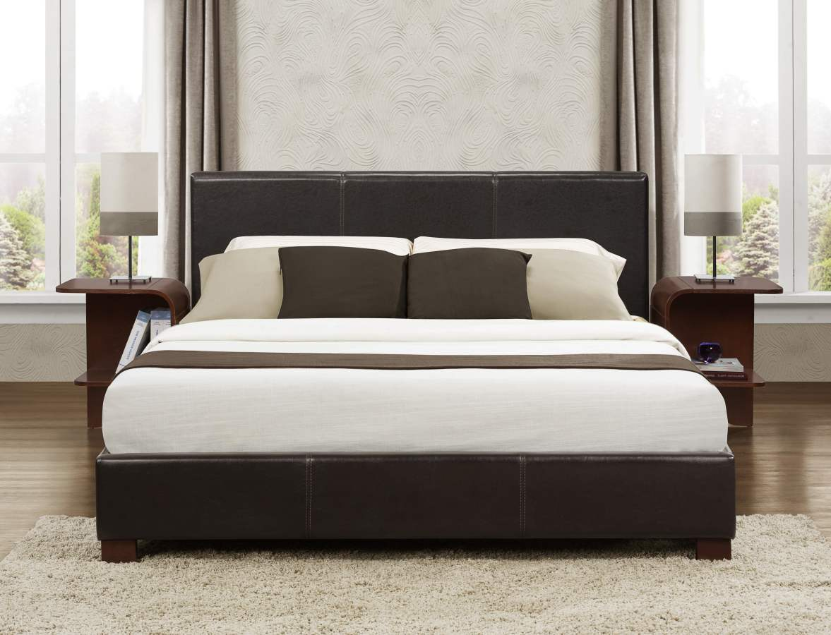 Platform Bed In Dark Brown Faux Leather Full Queen Or King - Marjen furniture