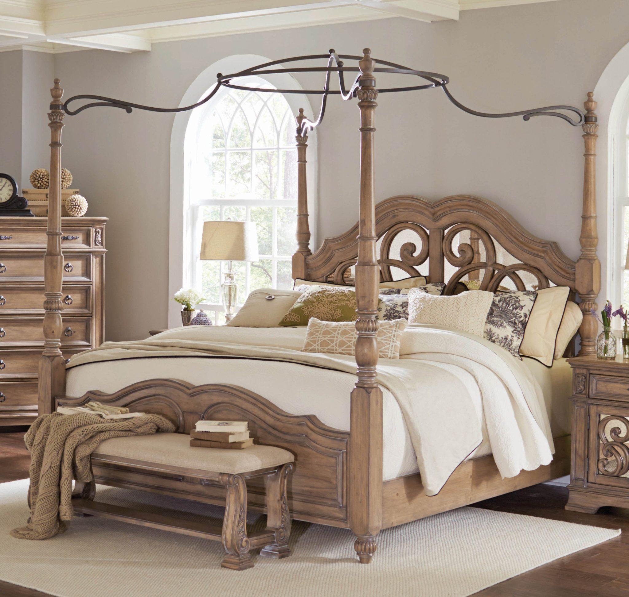 Ilana Antique Linen Queen Poster Bed Marjen Of Chicago Chicago Discount Furniture