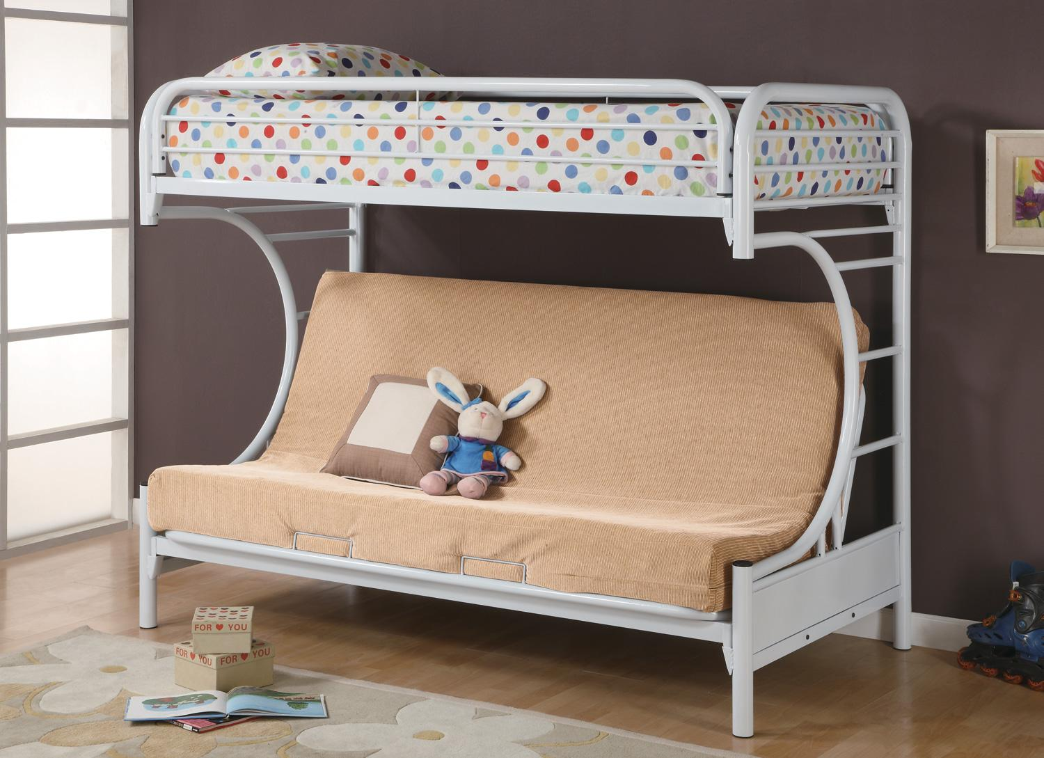 Picture of: 2253w Twin Futon Bunk Bed White Marjen Of Chicago Chicago Discount Furniture