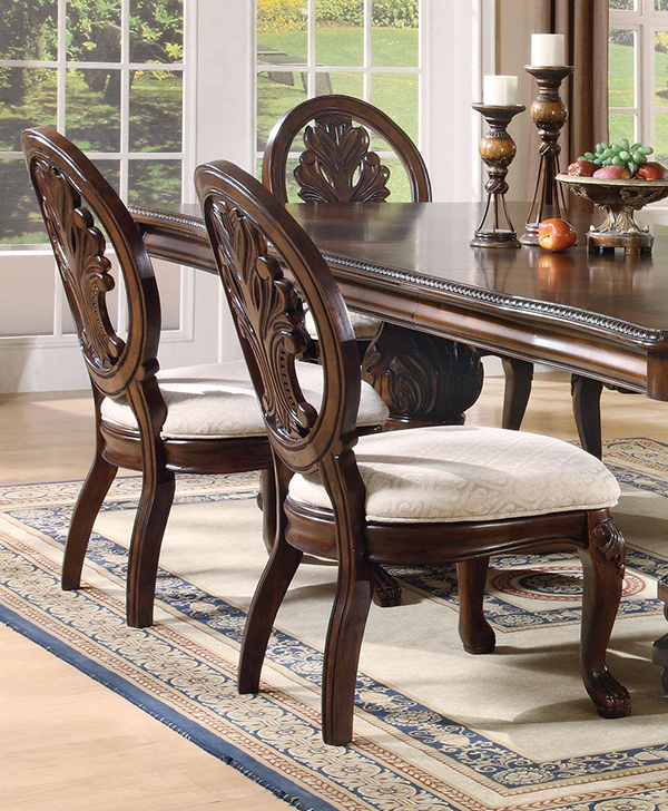 tabitha 7 piece formal dining room set in deep rich cherry finish marjen of chicago chicago. Black Bedroom Furniture Sets. Home Design Ideas