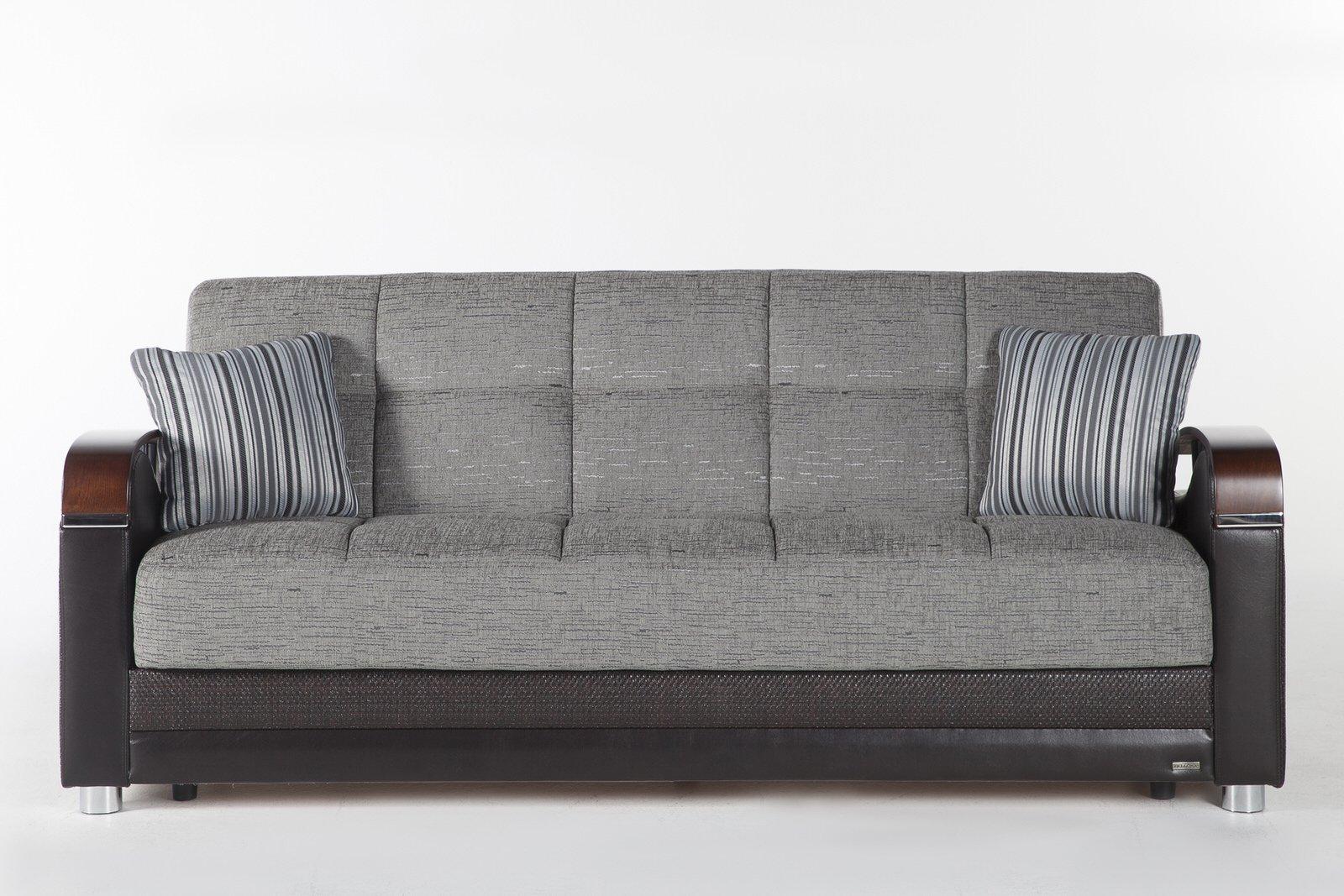 Luna Fulya Gray Convertible Sofa Bed With Storage Marjen