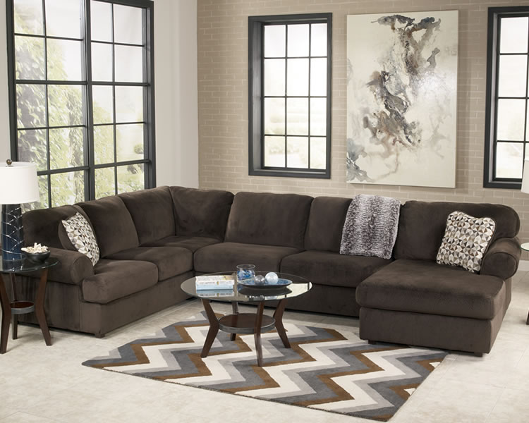 jessa place 3 pc chocolate sectional marjen of chicago