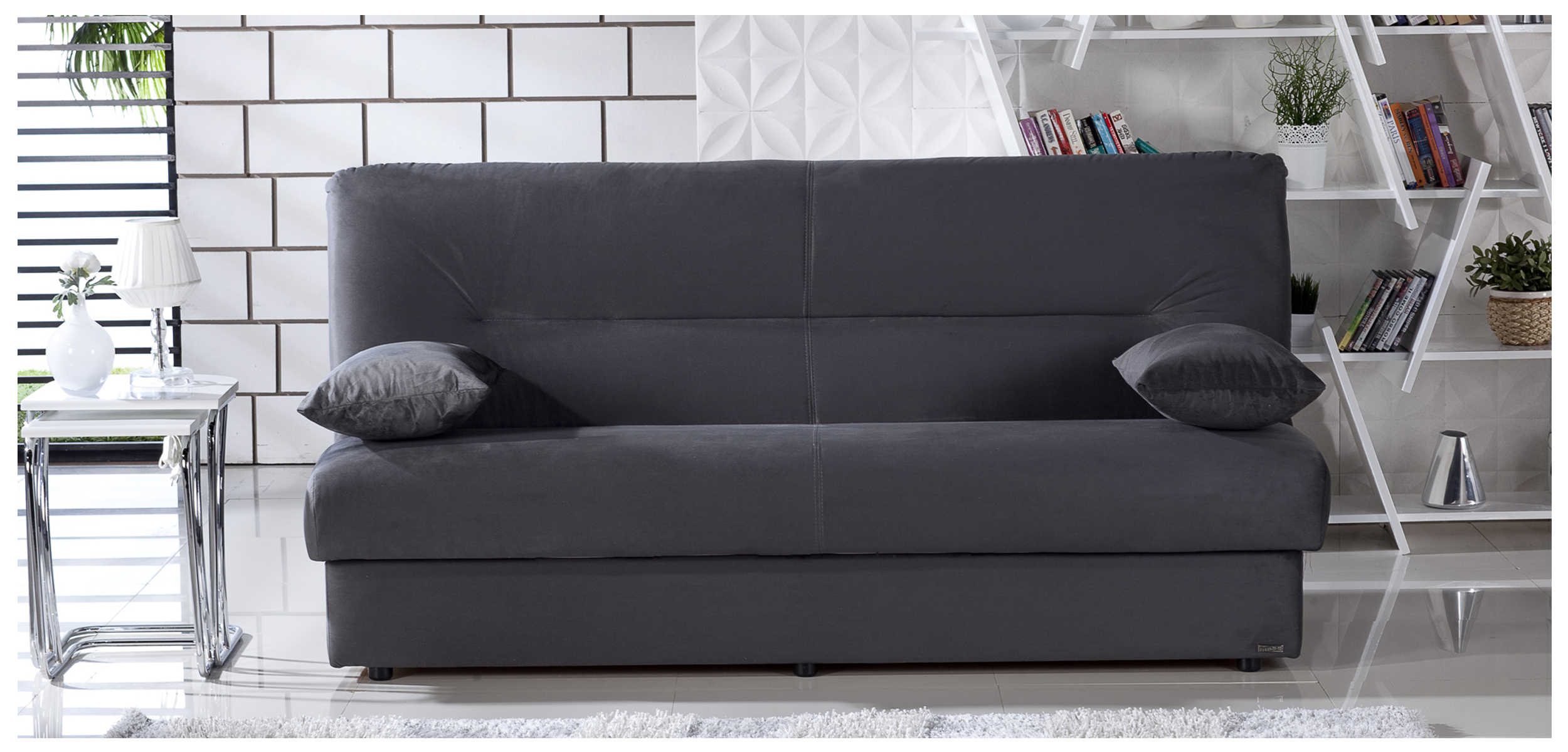 Regata Rainbow Dark Gray Convertible Sofa Bed With Storage