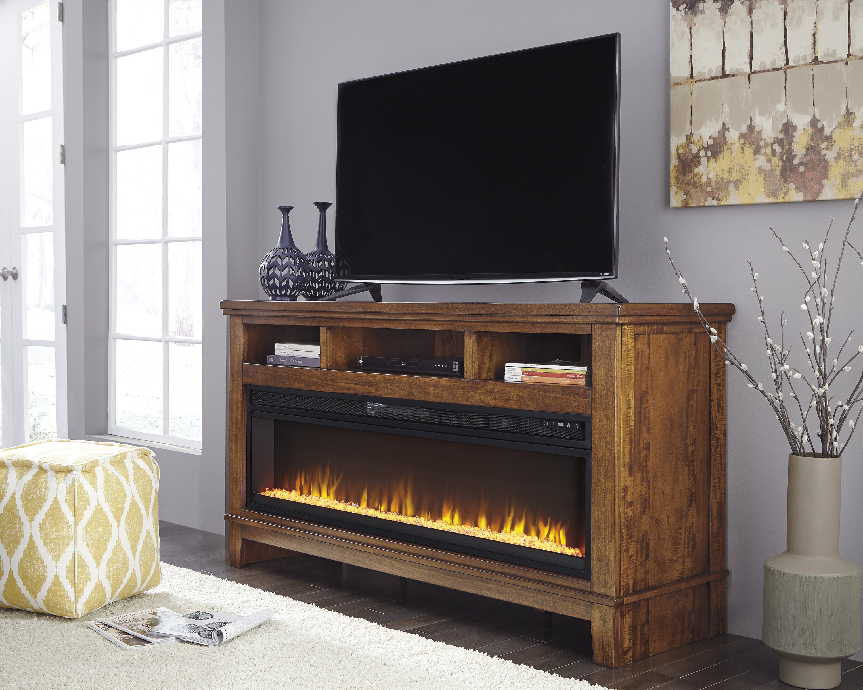Ralene Medium Brown Xl Tv Stand With Fireplace Audio
