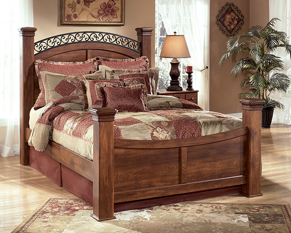 Timberline 4 Piece Poster Bedroom Set In Cherry Lowest