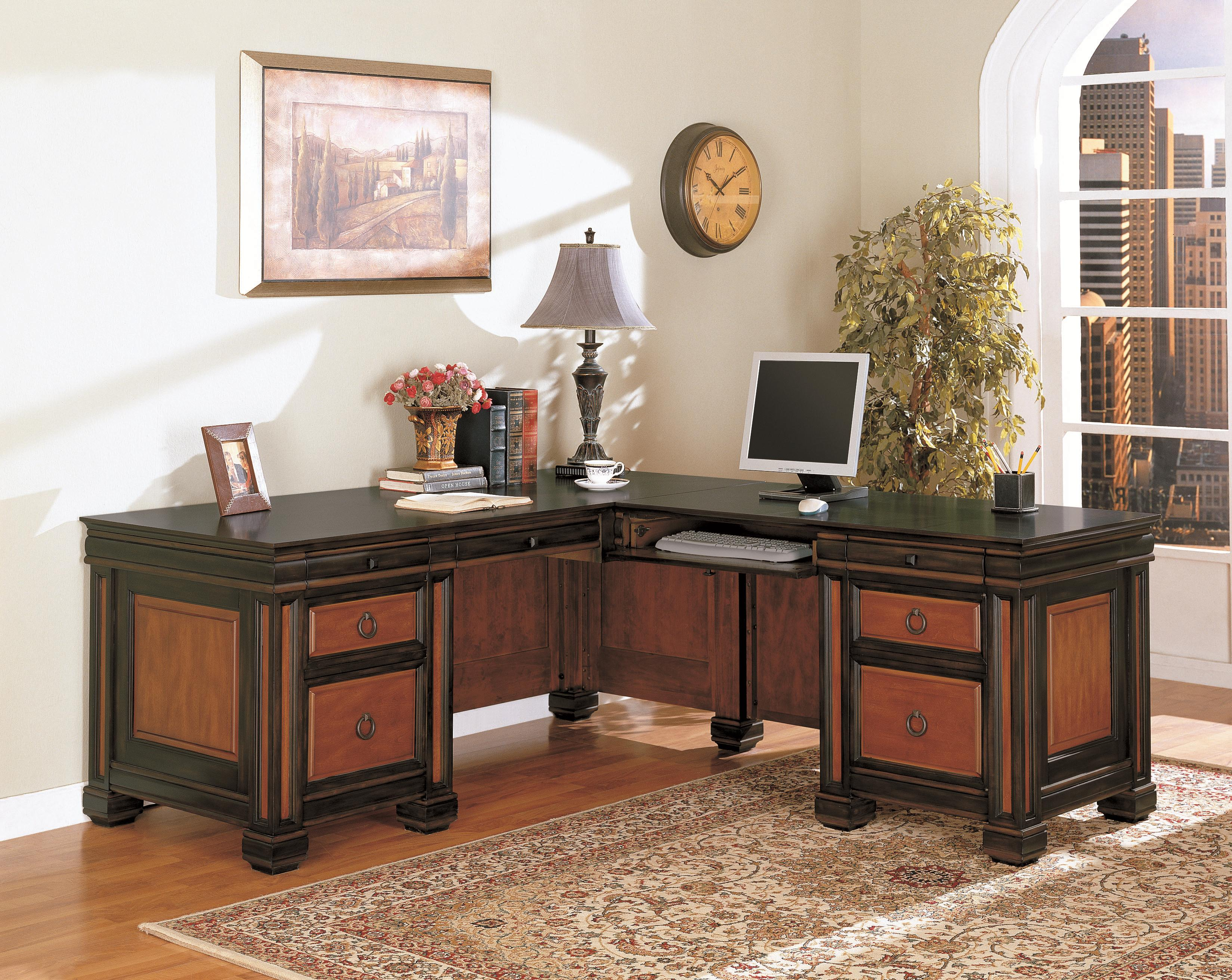 Home Office L Shaped Executive Desk In Dark Two Tone Finish FREE SHIPPING!