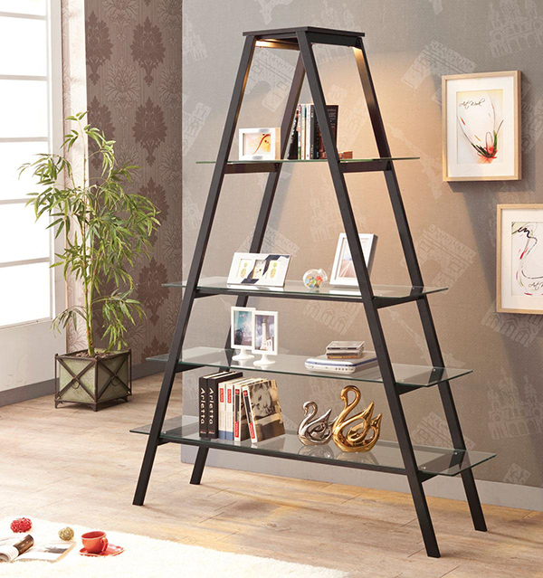Tempered Glass Shelves A Frame Stand Open Ladder Bookcase