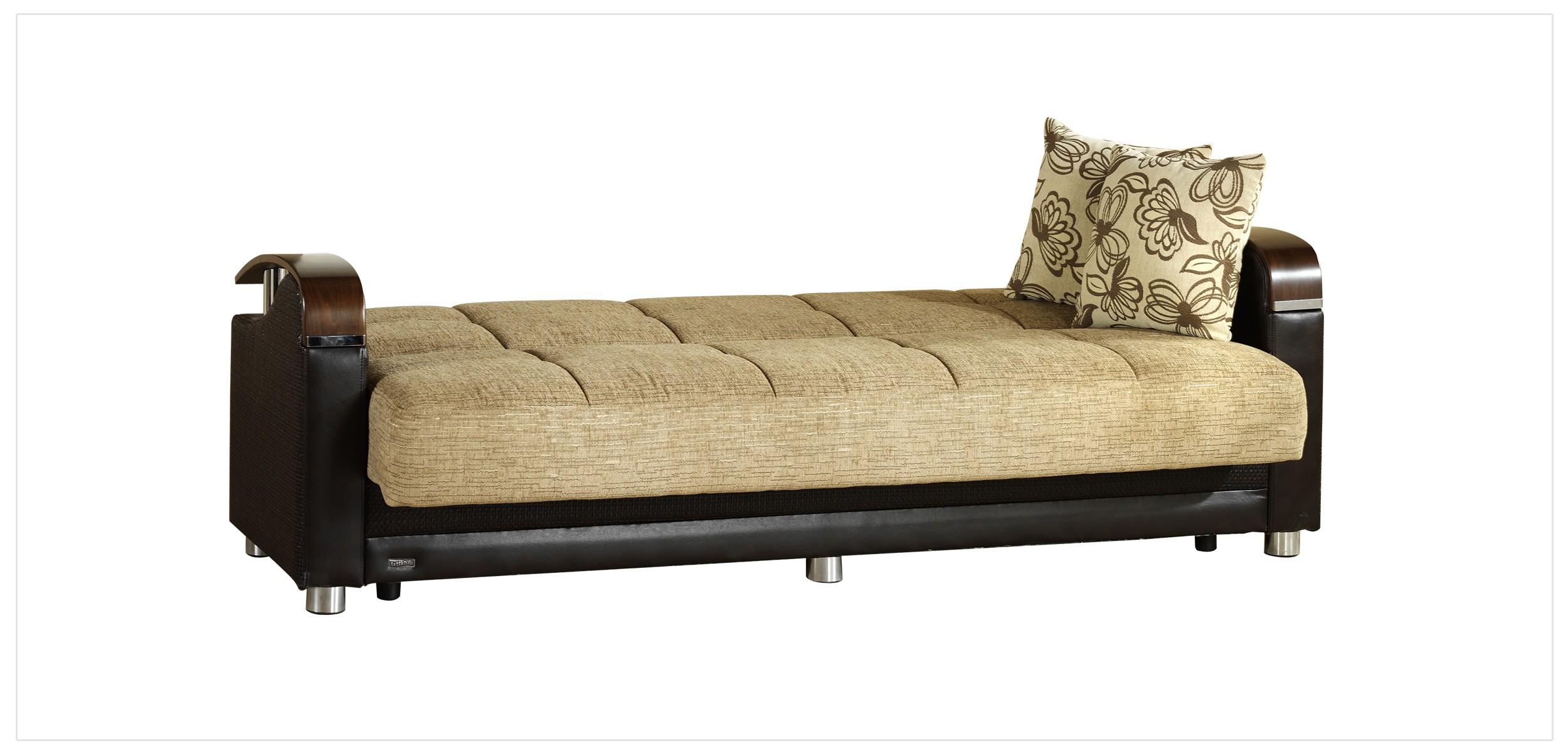 Luna Fulya Brown Convertible Sofa Bed With Storage