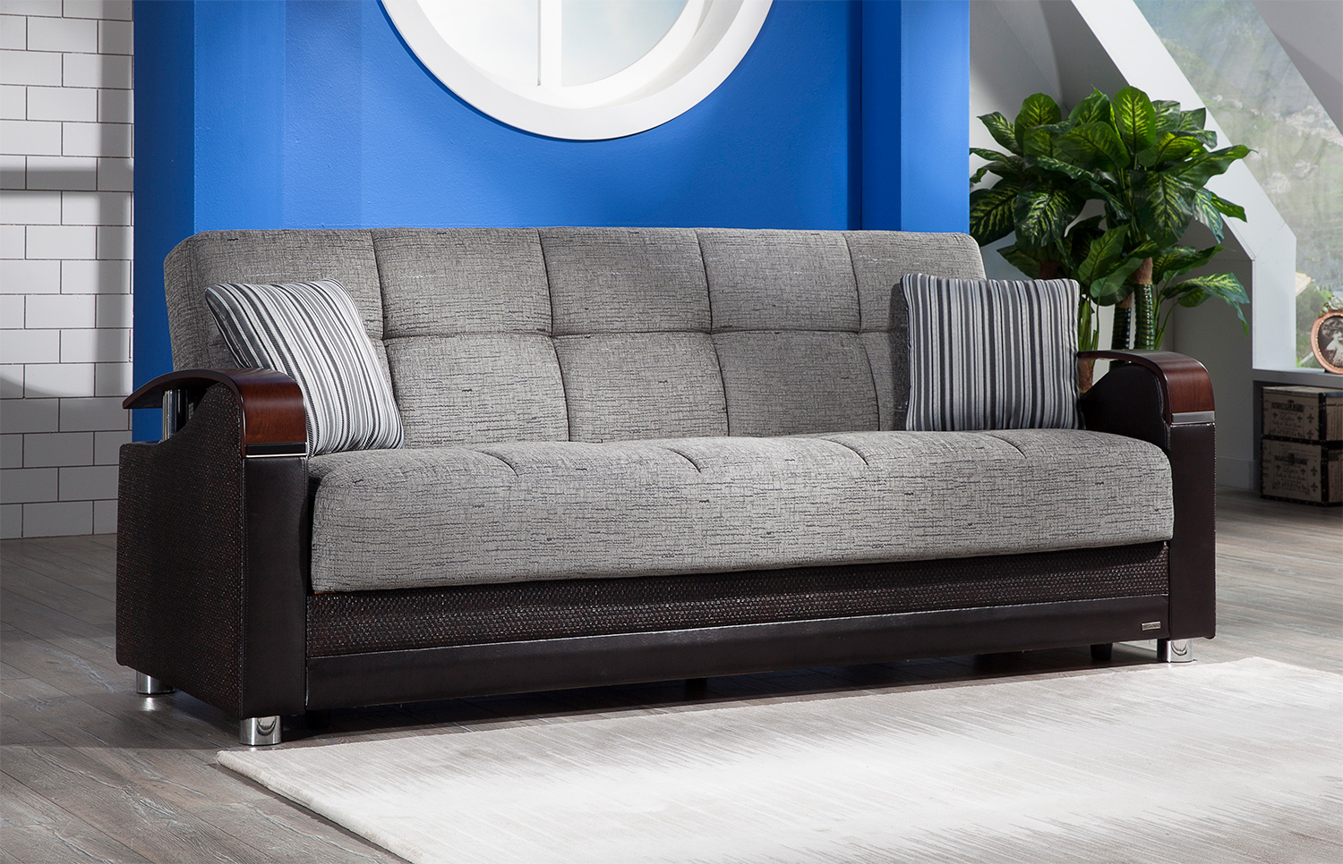 Luna Fulya Gray Convertible Sofa Bed With Storage Marjen