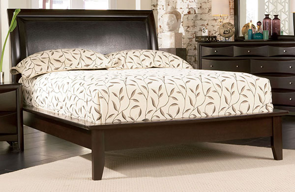bed with faux leather headboard marjen of chicago chicago discount