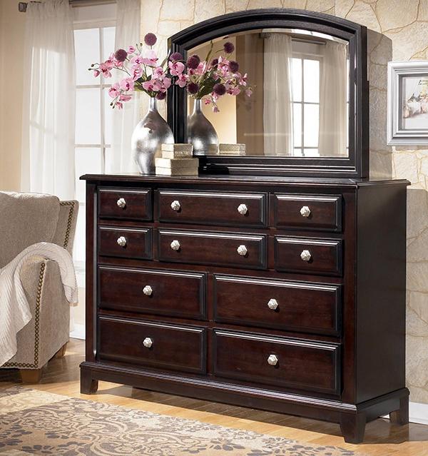 Ridgley 4 Piece Sleigh Bedroom Set In Dark Brown Marjen