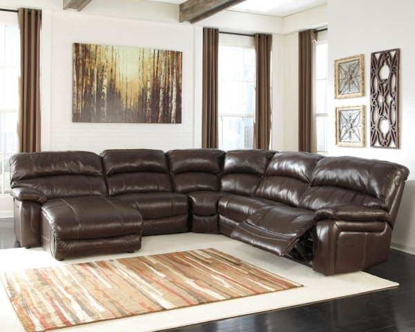 Damacio Dark Brown Leather Laf Power Reclining Sectional