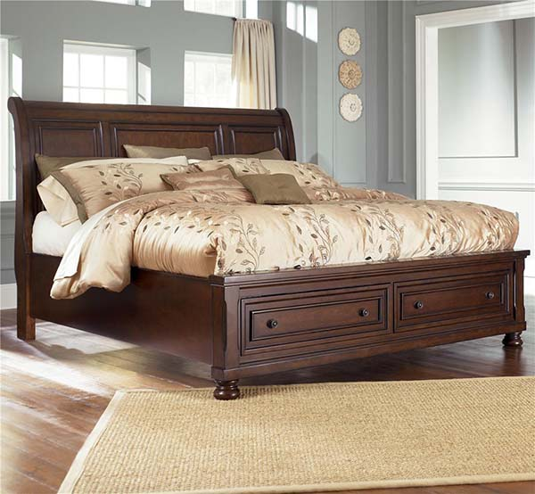 Porter Queen Sleigh Bed W Storage Footboard Marjen Of Chicago Chicago Discount Furniture